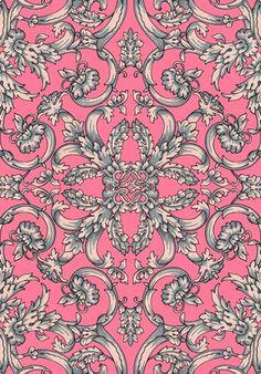 Galerie Black & White Floral Elegant Flowers Vintage Classic Wallpaper - Home Style Corner Deco Floral, Motif Floral, Pretty Patterns, Beautiful Patterns, Textile Patterns, Textile Prints, Pattern Art, Pattern Design, Motif Baroque