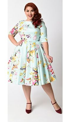 Plus Size Vintage Mint Seville Floral Half Sleeve Hepburn Swing Dress