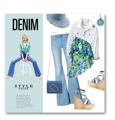 """""""Denim & Turquoise"""" by metter1 ❤ liked on Polyvore featuring Balmain, Marques'Almeida, Yves Saint Laurent, Eric Javits and 3.1 Phillip Lim"""