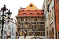 Prague's beautiful sgraffiti buildings