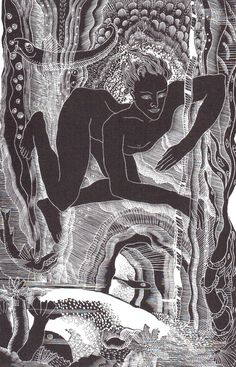 """Lettice Sanford, wood engraving  """"Leander UnderWater"""""""