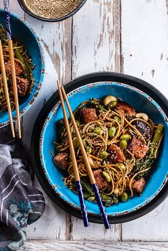 Soba Noodle and Salmon Stir Fry with Broccolini and Edamame