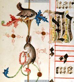 Hase;Raubvogel       Dieses Bild: 007446A      Kunstwerk: Buchmalerei ; Illustrationszyklus Antiphonar ; Wien(?)   Dokumentation: 1481 ; 1481 ; Graz ; Österreich ; Steiermark ; Universitätsbibliothek ; cod. 1 ; fol. 337v