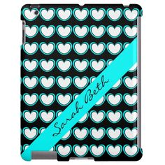 Cute Black, White & Aqua iPad Case, Aqua & White Hearts on Black, personalize with your name on the matching diagonal aqua ribbon. Or select CUSTOMIZE to choose this design for another device (iPhone, droid, etc)
