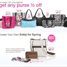 April's Special for every $31 spend, you can get a purse 50% off .....For more information go to my website at www.mythirtyone.com/LauraMoya
