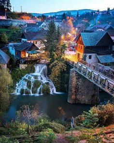 Natural phenomenon, a small village of water mill, Rastoke, Croatia.