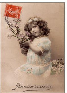 Carte Carte ancienne anniversaire pour envoyer par La Poste, sur Merci-Facteur !