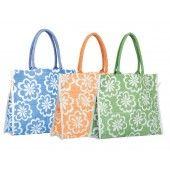 "Jaz Spring Side Tie Jute Bag Printed Jute/ Burlap Tote Bag Side Tie Closure Laminated from inside Dimensions: 18""W X 14"" X 5"" gusset.  Colors: Green, Melon & Blue http://www.carrygreen.com/printedjuteshoppingbag-designertote.html"