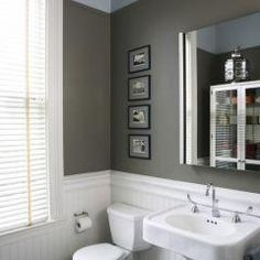Like the dark grey for the bathroom... Then maybe try the silver ceiling and a black, chalkboard door ? ... Hmmm