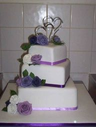 Tier Square White Wedding Cake With White Handmade Sparkly Roses