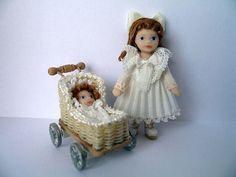 Toy Doll & Wicker Pram with Baby Set - 1/24 dollhouse miniature