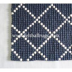 Dot Pattern Rectangle Felt Ball Rug handmade in Nepal. The rug measures and is available other custom sizes too. Colors are completely customizable.