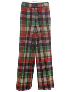 Retro 1960s Bellbottom Pants: 60s -Miss Holly- Womens white, navy blue, bright green, gold and red acrylic flannel bellbottom pants. Bold plaid pattern with creased legs, banded waist with back dartsbutton and zip front and 24 inch bells with 2 inch cuffs. Some very minor toning.