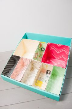 Crate Paper : desk organizer from empty food boxes