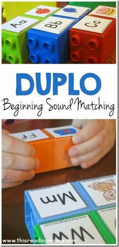 Beginning Sound Matching LEGO Game - great activity for preschool, kindergarten for alphabet letter sounds in homeschool