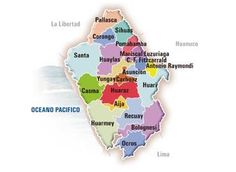 Ancash is a region in central W Peru.  The population is 1,039,415 within 13,867 sq. mi. (35,914 sq. km.) or about 1.1 times the size of Maryland.  Huarez is the capital and Chimbote is the largest city.  La Libertad is NW, N, and NE, Huanuco is E, Lima is S, and the Pacific Ocean is SW and W.