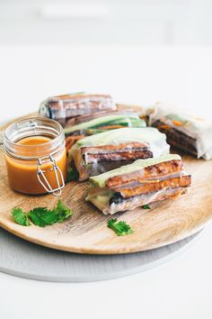 Vegan Teriyaki Tofu Summer Rolls - Healthy and Light Rice Paper Rolls with Teriyaki Baked Tofu, Fresh Veggies and a Spicy Peanut Dipping Sauce.