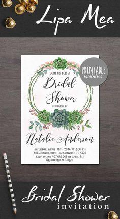 Bridal Shower Invitation Succulent, Boho Bridal Shower Invitation, Bohemian Bridal Shower Invite, Green Floral Bridal Shower Invitations. lipamea.etsy.com
