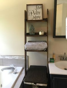 Over the Toilet Ladder Shelf choose color and width of shelf Leaning Ladder Shelf, Ladder Shelf Diy, Ladder Bookcase, Ladder Decor, Ladder Storage, Rustic Ladder, Bathroom Sets, Small Bathroom, Bathroom Grey