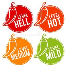 Chili Peppers Scale Mild, Medium, Hot And Hell Icons. Stock Vector - Illustration of icon, chili: 113288066 Pepper Scale, Logo Online Shop, Salsa Picante, Chili Cook Off, Food Packaging Design, Logo Food, Stuffed Hot Peppers, Jar Labels, Pig Illustration
