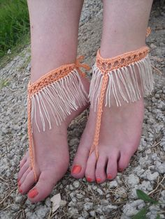 Free Shipping Handmade Fringe Crochet Barefoot by Serbiangirl