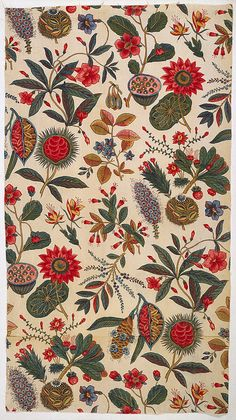 * Textile, ca. 1796 - cotton block-printed: black, 2 reds; other colors applied by brush; plain weave foundation