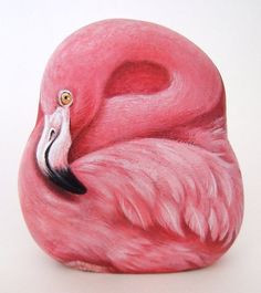 Pink Things | Pink flamingo, paint on stone by Roberto Rizzo