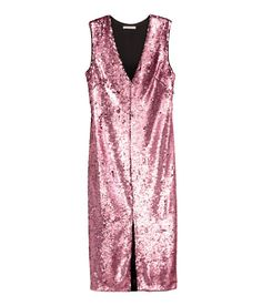 Check this out! Fitted V-neck dress in sequin-embroidered mesh with a concealed zip at side and a slit at front. Lined. - Visit hm.com to see more.