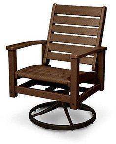 Polywood 1930 16TE Signature Swivel Rocker Chair Textured Bronze / Teak  Finish