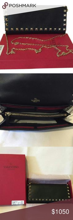 "-SOLD- New Valentino Rockstud Crossbody bag New Authentic Black Foldover top Height: 3.9"" Depth: 1.6"" Width: 7"" Valentino Bags Crossbody Bags"