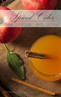 Herb infused, warming spiced apple cider to boost immunity - The Herbal Spoon
