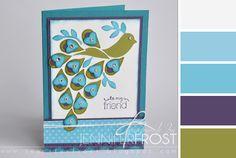 Handmade peacock card by Jennifer Frost.