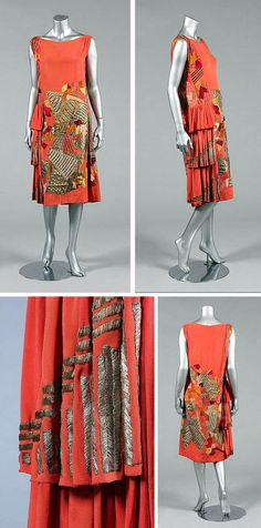 1924-1925 Cocktail dress by Natalia Goncharova for Myrbor.  Crêpe de chine with applied metallic panels, silks, and velvets. Triple-tier flounces at right hip, embroidered with gold threads. Small weights hold waistline in place inside dress. Via Kerry Taylor Auctions/Invaluable.