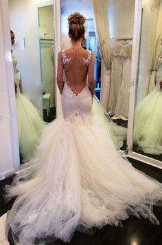 White Wedding Dresses,Mermaid Wedding Gown,Lace Bridal Dress,Open Backs Wedding Gowns,Open Back Wedding Dress