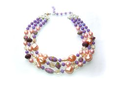 Vintage Triple Strand Glass Bead Necklace  by 2VintageGypsies, $22.00