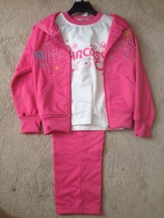 dark pink, 3 piece princess track set Girls Fall Outfits, Fall Clothes, Girl Falling, Little Princess, White Tops, 3 Piece, Hooded Jacket, Track, Graphic Sweatshirt