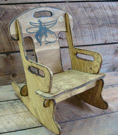 Child's Rocking Chair, Puzzle Rocker Chair For Kids. Western Wood Rocking Chair…