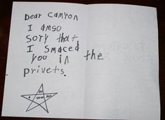 this made me laugh really hard. Reminds me of a letter my little brother would have to write. lol
