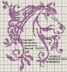 Grille gratuite point de croix : Cheval monochrome violet