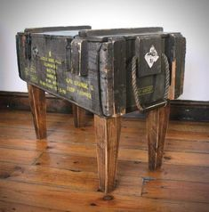 Up-cycled Ammo Crate Side Table