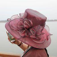 Lady Church Kentucky Derby Hat Sheer Wide Brim Dress Wedding Tea Party