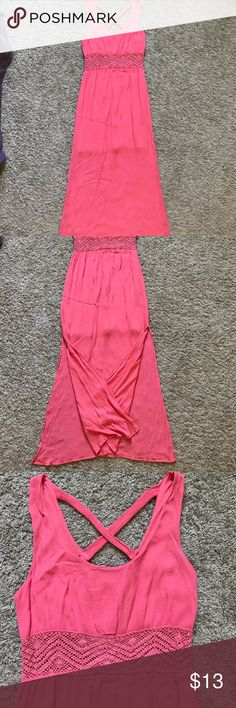 Salmon Colored Dress Floor length dress with a slit up both sides (pictured) midsection is crocheted and slightly see through. Very cute! Xhilaration Dresses Maxi