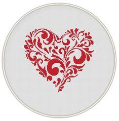 Heart cross stitch pattern  Valentine cross stitch pattern