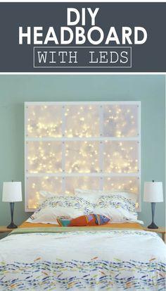 A Heavenly Star-Studded Headboard - Diy kopfteil Canvas Headboard, Diy Bed Headboard, Girls Headboard, Window Headboard, Studded Headboard, Headboard With Lights, Headboard Designs, Headboard Ideas, Homemade Headboards
