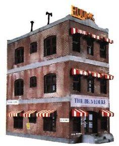 Belvedere Downtown Hotel -- 5-1/2 x 2-1/2'' 14 x 6.4cm - HO-Scale (lif1339) Life-Like HO Scale Model Railroad Buildings