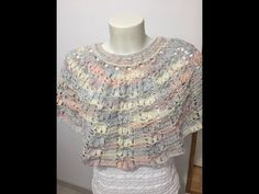 Poncho Au Crochet, Knitted Shawls, Crochet Top, Crochet Patterns, Ruffle Blouse, How To Wear, Collars, Women, Fashion