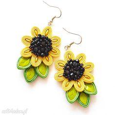 • kolczyki, biżuteria - kolczyki słoneczniki sutasz beadig sutache