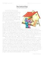The School Play-Second Grade Reading Comprehension Test: Use the information in the storytoanswerthe 5 comprehension questions. Answer Key IsIncluded.    The School Play-SecondGrade Reading Comprehension Test – Click Here    Information: Second Grade Reading Comprehension. 2nd Grade Reading Comprehension Test Practice Worksheet.