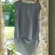 "Draped Gray Sheer Hi Lo Top Gray Sheer fabric.  Reposh.  Chest measures 45"".  Front length 22"" and back 29"".  Bundle and save 20%. Truth Tops Tunics"