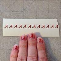 "Alabama Crimson Tide ""A"" Nail Art - http://www.customsense.com/alabama-crimson-tide-nail-art-p-690.html"